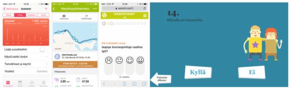 Vasemmalta iPhone Terveys -appi, Endomondo -liikunta-appi, AVO-ammatinvalintaohjelma sekä Mun mieli -hyvinvointi appi.